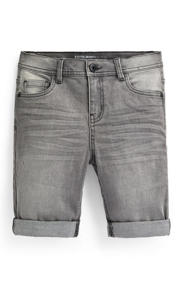 Shorts skinny grigi in denim da bambino