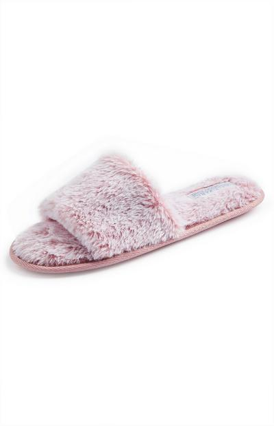 Pink Faux Fur Slide On Slippers