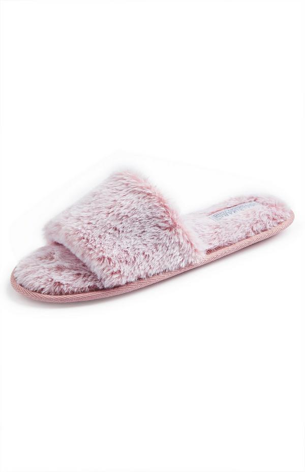 Pink Faux Fur Slide On Slippers