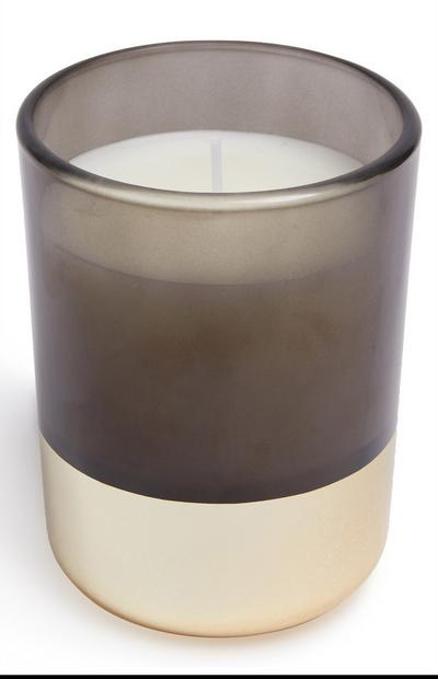 Vela votiva vidro fumado base dourado