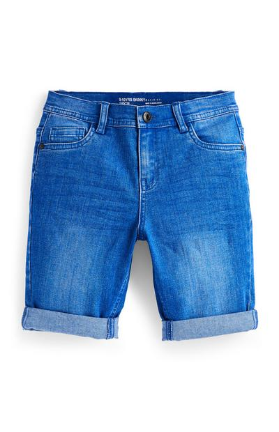 Older Boy Blue Skinny Denim Shorts