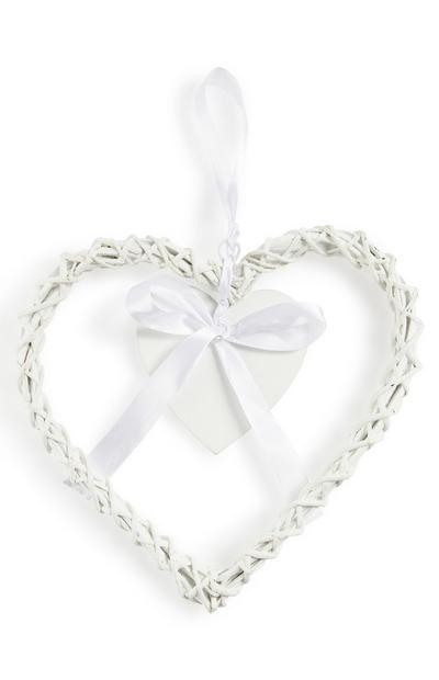 Coração pendurar rotim branco
