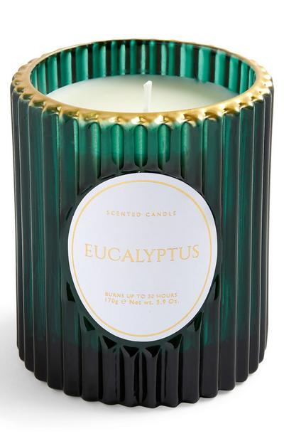 Green And Gold Fluted Glass Candle