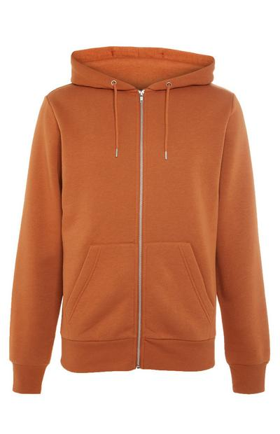 Basic Burnt Orange Zip Up Hoodie