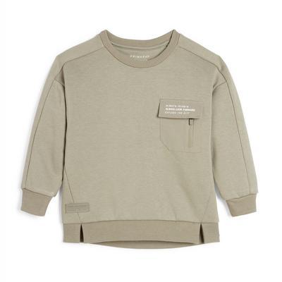 Sweat-shirt ras du cou kaki utilitaire garçon