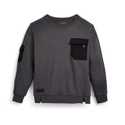 Suéter gris marengo con cuello redondo para niño pequeño