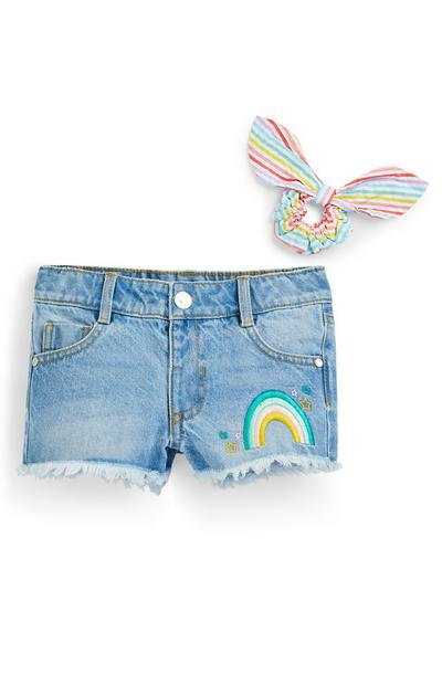 Younger Girl Blue Denim Rainbow Embroidered Shorts 2 Piece Set