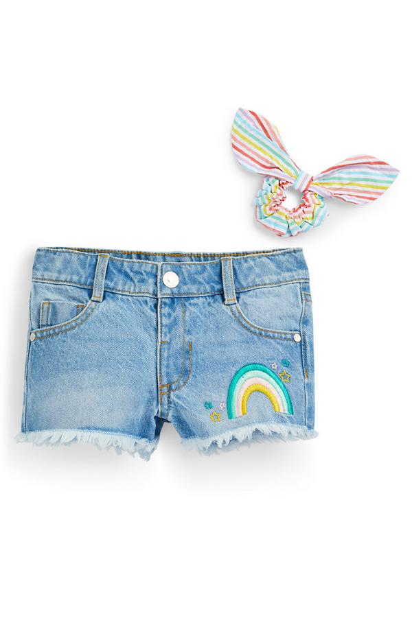 Younger Girl Blue Denim Rainbow Embroidered Shorts Set