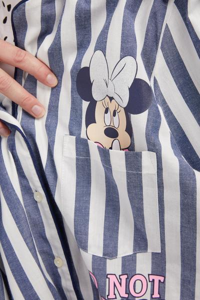 Blue and White Striped Minnie Mouse Boyfriend Shirt