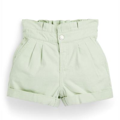 Younger Girl Mint Green Paperbag Twill Shorts