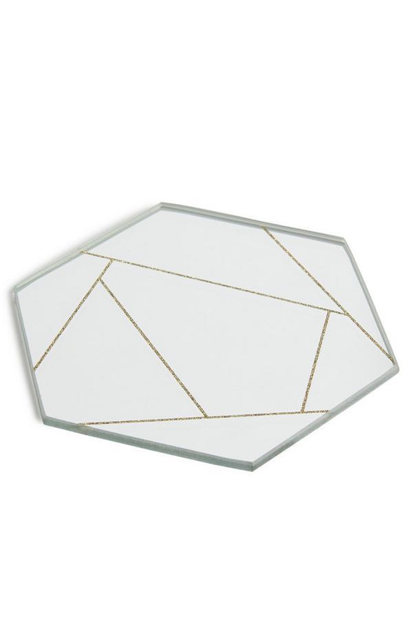 Kleine zeshoekige spiegelplaat