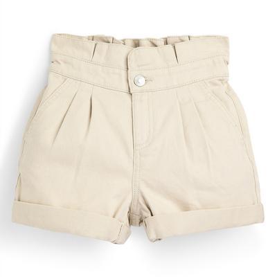 Older Girl Cream Paperbag Twill Shorts