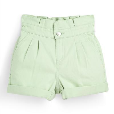 Older Girl Mint Paperbag Twill Shorts