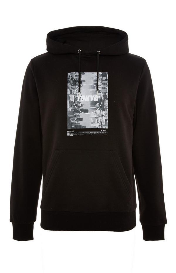 Black Tokyo Print Pullover Hoodie