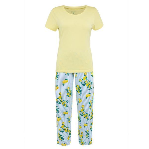 Gele pyjama met print
