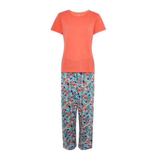 Coral Floral Print Pajama Set