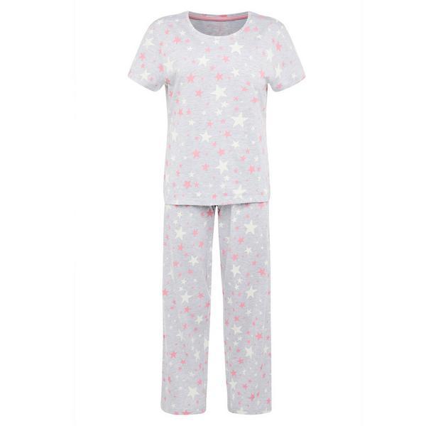 Pijama gris con estampado de estrellas