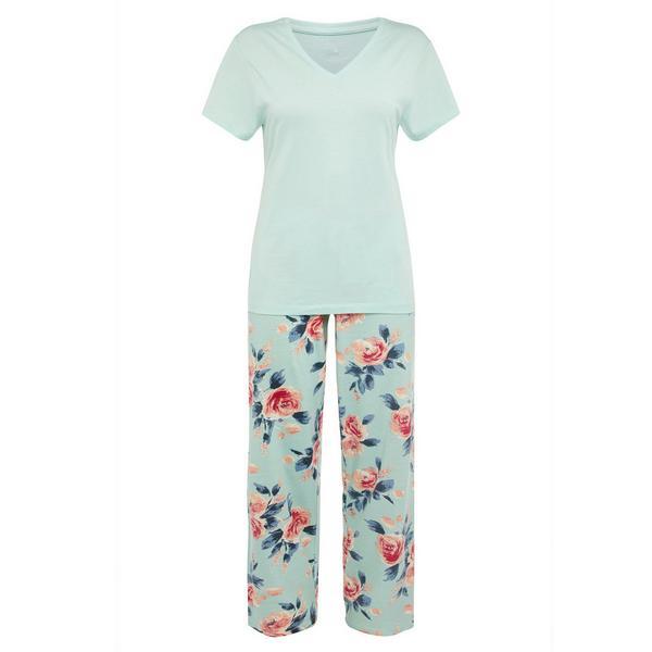 Mint Floral Print Pyjamas Set