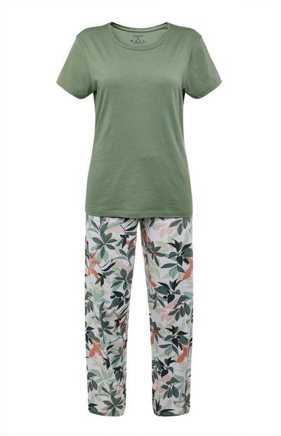 Olive Floral Pajamas Set