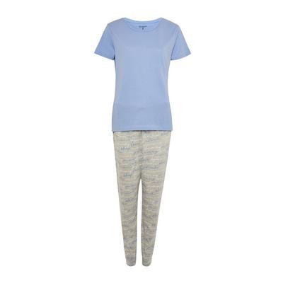 Blue Script Print Pyjamas Set