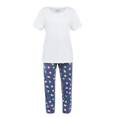 Pijama estampado fruta azul-marinho