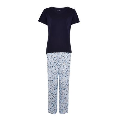 Navy Floral Print Pyjamas Set