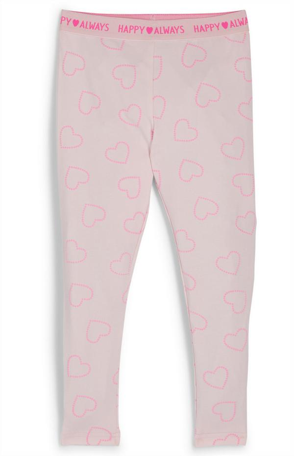 Younger Girl Pink Heart Waistband Leggings