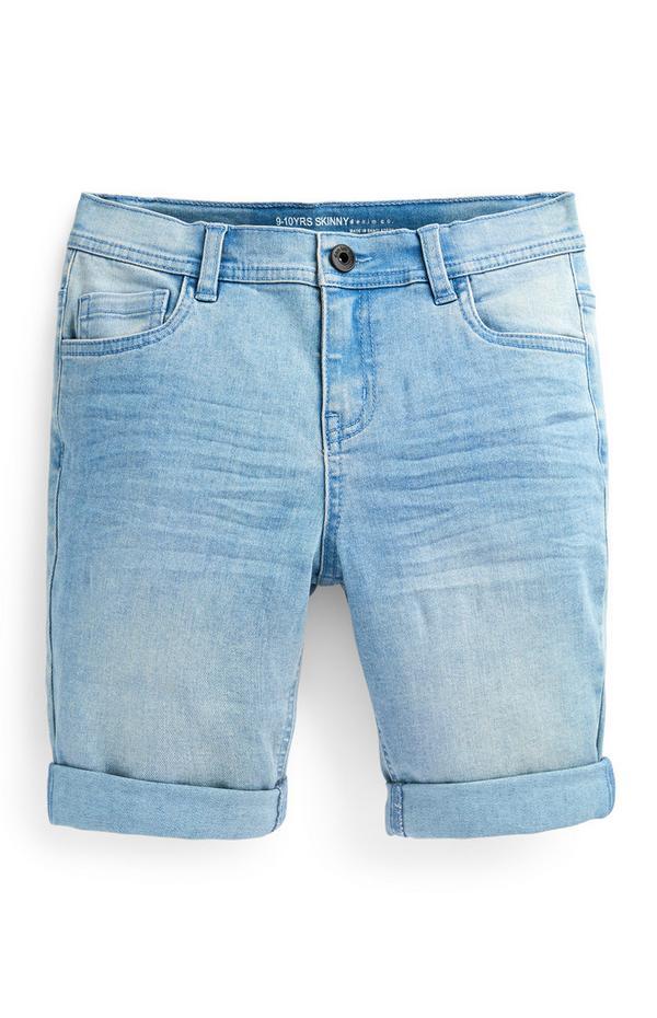 Older Boy Light Blue Skinny Denim Shorts