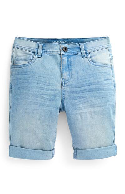 Lichtblauwe skinny denim short voor jongens