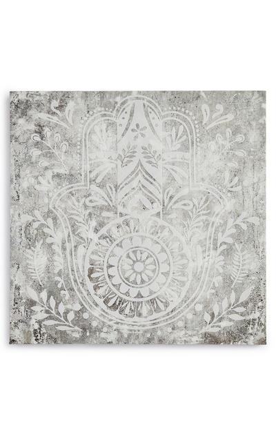 Tableau mural main de Fatma gris et blanc en toile