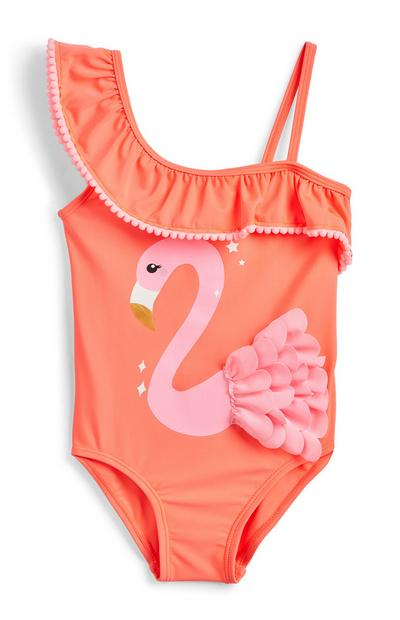 Younger Girl Peach Flamingo Swimsuit