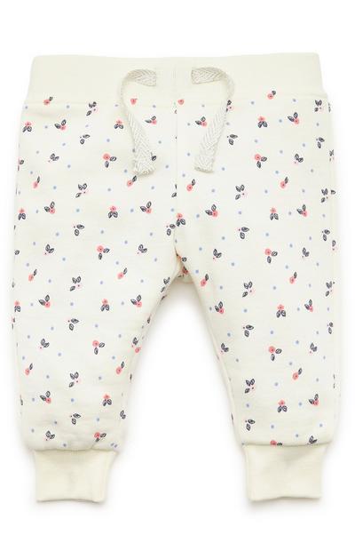 Baby Girl Cream Print Joggers