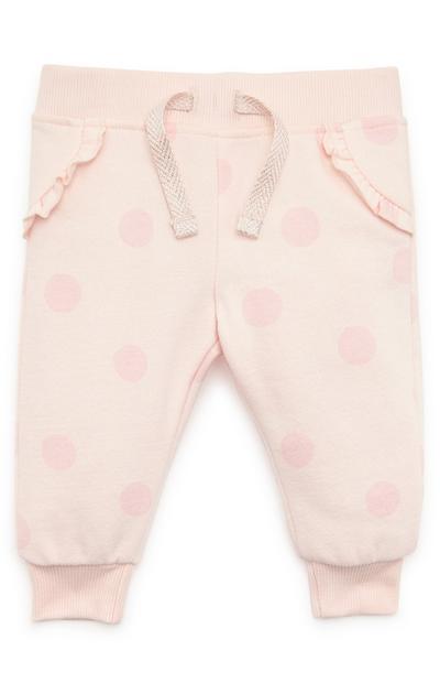Roze joggingbroek met stippenprint voor baby's (meisje)