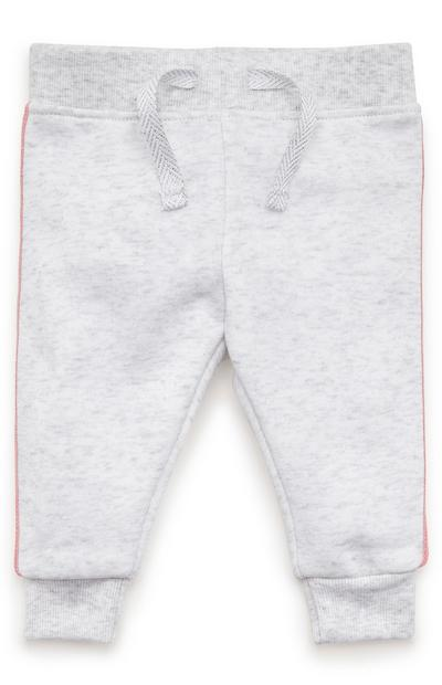 Baby Girl Grey Coral Stripe Joggers