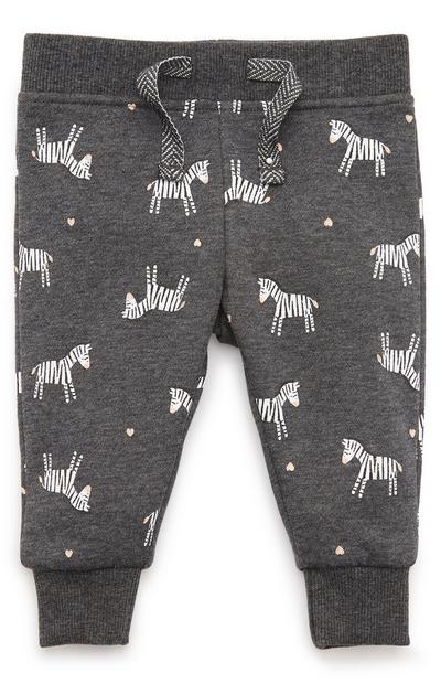 Baby Girl Charcoal Zebra Print Joggers