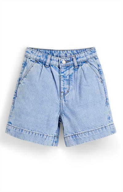 Modre bermuda kratke hlače iz džinsa za mlajša dekleta