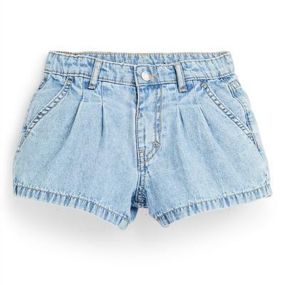 Shorts blu a sbuffo in denim da bambina