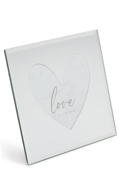 Mirror Glass Heart Shape Frame