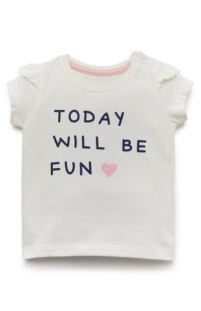 Wit T-shirt met print Today Will Be Fun voor baby's (meisje)