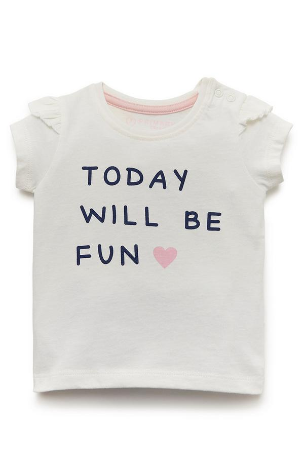 Baby Girl White Today Will Be Fun Print Top