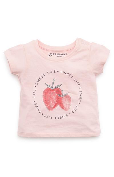 Rožnata dekliška majica s potiskom jagode za dojenčke