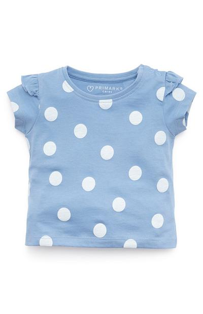 Baby Girl Blue And White Polka Dot Frill Sleeve T-Shirt