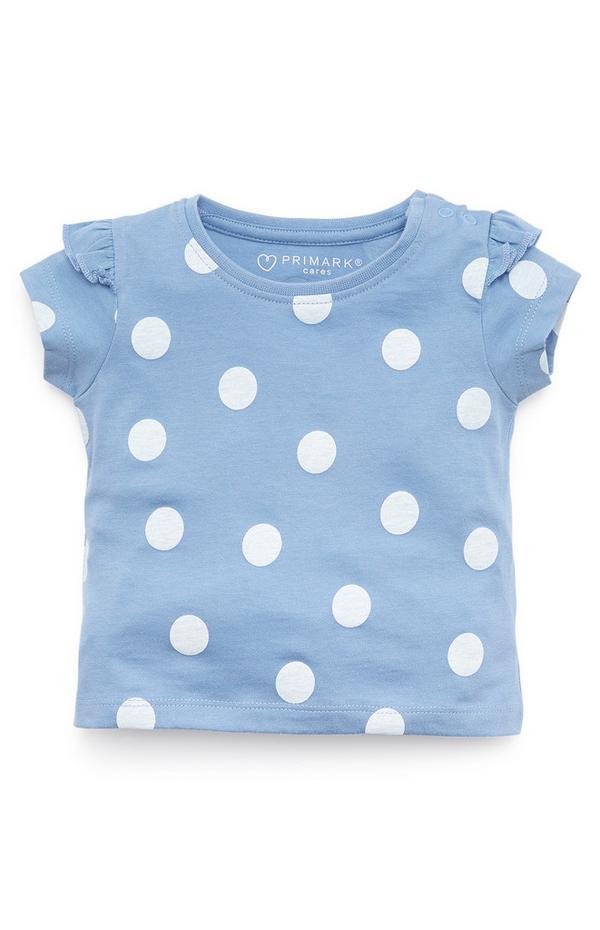 Baby Girl Blue And White Polka Dot Ruffle sleeve Top