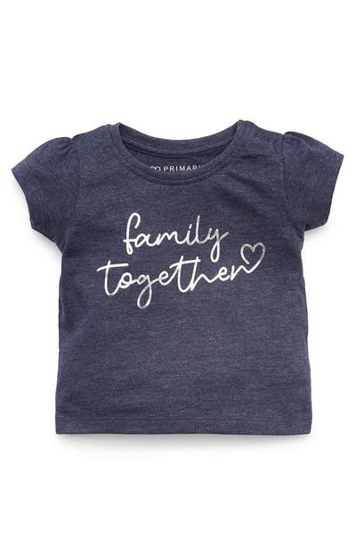T-shirt bleu marine à imprimé Family Together bébé fille