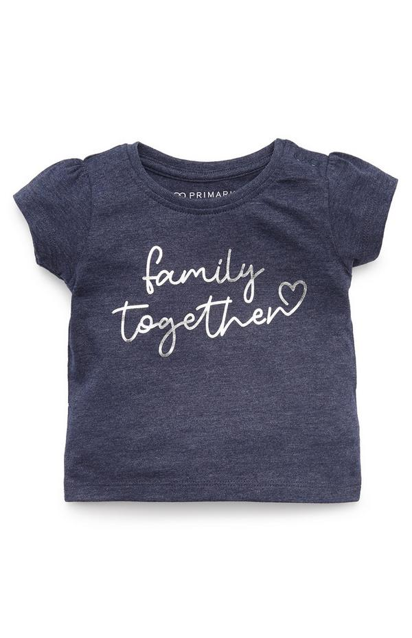 Baby Girl Navy Family Together Print T-Shirt