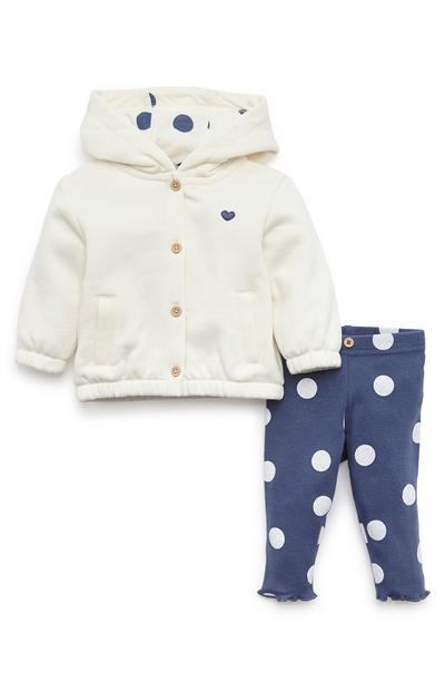 Baby Girl Cream Polka Dot Hoodie And Ribbed Leggings Set