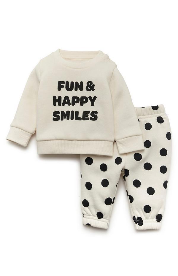 Baby Girl Ivory And Black Polka Dot Fun Happy Smiles Lounge Set