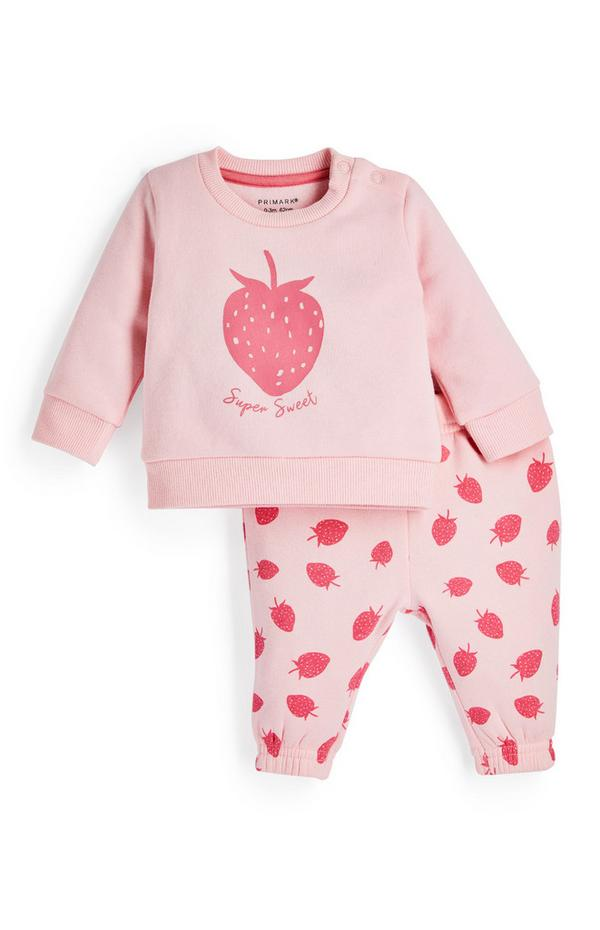 Baby Girl Pink Strawberry Leisure Leggings And Sweater Set 2 Piece