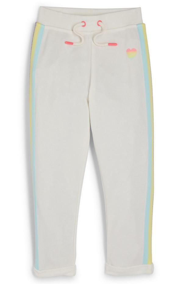 Pantalón de chándal gris con bandas laterales para niña pequeña
