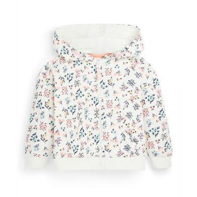 Younger Girl White Floral Print Zip Through Hoodie